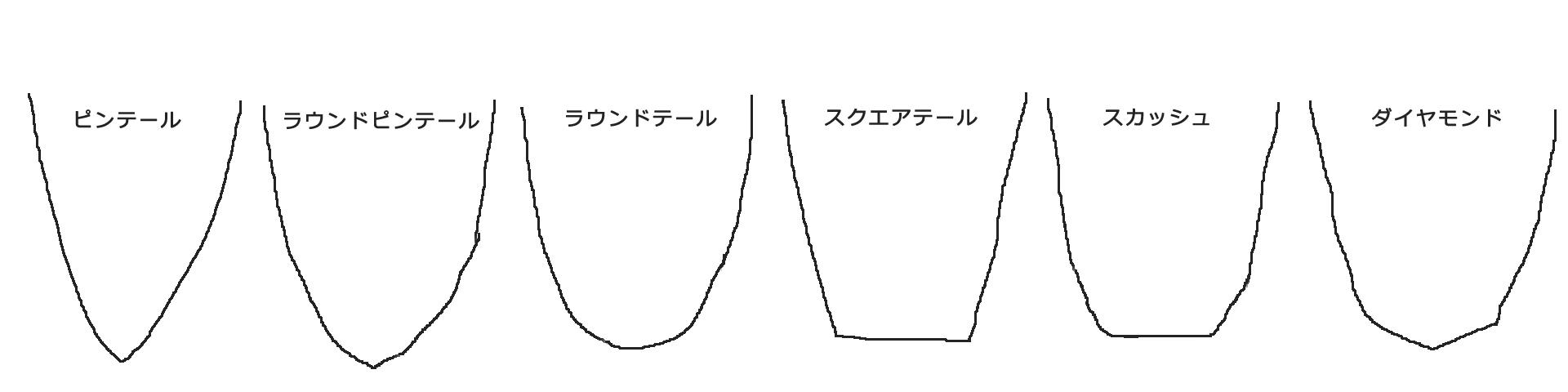 ロングボードのテールデザイン